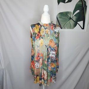 Deletta Floral High Neck Smocked Boho Flowy Top
